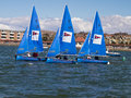 Three Blue Sailing Boats Royalty Free Stock Image