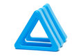 Three blue triangle row Stock Image