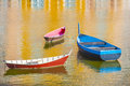 Three Boats in Harbor Royalty Free Stock Images