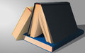 Three books yelow blue and grey Stock Photography