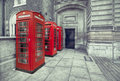 Three booths red telephone boxes near royal academy of arts Royalty Free Stock Images