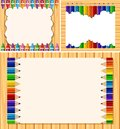 Three border templates with color pencils Royalty Free Stock Photo