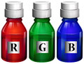Three bottles of ink illustration the on a white background Stock Image