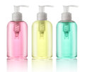 Three bottles of liquid soap Royalty Free Stock Photo