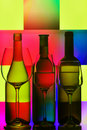 Three bottles of wine and glasses Royalty Free Stock Photo