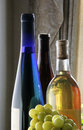Three bottles of wine and green grapes with against sunlit window background Royalty Free Stock Images