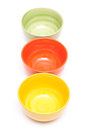 Three bowls in a row Royalty Free Stock Images