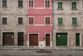 Three brick houses facade of story high Royalty Free Stock Images