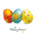Three bright ornamental realistic Easter eggs with shadow on white background. Easter banner