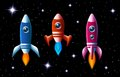 Three brightly colored rockets in outer space vector with turbo boost and flames as they speed through the dark starry sky set of Royalty Free Stock Image