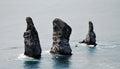 Three brothers rocks in avacha bay pacific ocean in kamchatka Royalty Free Stock Photo