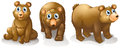 Three brown bears illustration of the on a white background Stock Photos