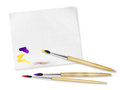 Three brush and aquarel paper Royalty Free Stock Image