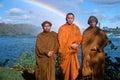 Three Buddhist monk