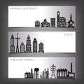 Three Building Banners Royalty Free Stock Photo