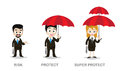 Three of business man and woman holding umbrella Royalty Free Stock Photo