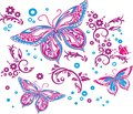 Three butterflies and flowers drawing on a t-shirt