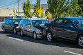 Three car accident cars involved in an on a city street Royalty Free Stock Photo