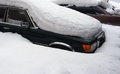 Three car fallen asleep by snow in snowdrift Royalty Free Stock Photo