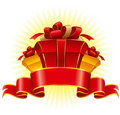 Three cardboard gift box Royalty Free Stock Image