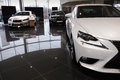 Three cars new lexus is and gs beautiful white two Royalty Free Stock Photography
