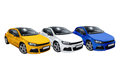 Three cars volkswagen scirocco isolated on a white background Royalty Free Stock Image