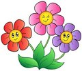 Three cartoon flowers Stock Image