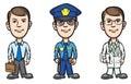 Three cartoon professionals businessman policeman doctor