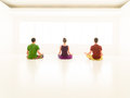 Three casual people yoga class back young one women and two men practice stand Stock Image
