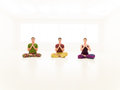 Three casual people yoga class young practice Stock Image