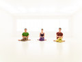 Three casual people yoga class young practice Royalty Free Stock Photos
