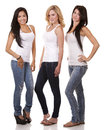Three casual women beautiful having fun on white background Stock Photography
