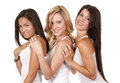 Three casual women beautiful having fun on white background Royalty Free Stock Images