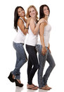 Three casual women beautiful having fun on white background Stock Photo