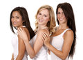 Three casual women beautiful having fun on white background Royalty Free Stock Photos