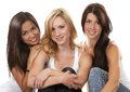 Three casual women beautiful having fun on white background Royalty Free Stock Photo