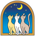 Three cats by the window, moon Stock Photo