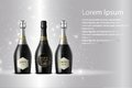 Three champagne wine bottles on sparkling background Royalty Free Stock Photo