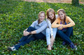Three cheerful student girls Royalty Free Stock Photography