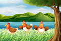 The three chickens at the riverbank illustration of Stock Photography
