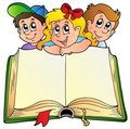 Three children with opened book Stock Image