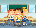 Three children smiling inside the classroom illustration of Stock Photography