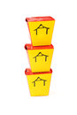 Three chinese containers for fast food and chopsticks Royalty Free Stock Photos