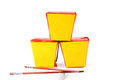 Three chinese containers for fast food and chopsticks Stock Image