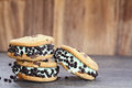 Three Chocolate Chip Mint Ice Cream Cookie Sandwiches Royalty Free Stock Photo