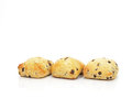 Three chocolate chip scones spongy on white background Stock Image