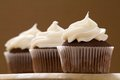 Three chocolate cupcakes with a brown background close up of Stock Photography