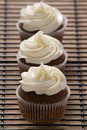 Three chocolate cupcakes with vanilla frosting in a row of on cooling rack Royalty Free Stock Image