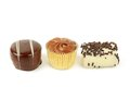 Three chocolate sweets Stock Photography