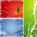 Three Christmas background with tree & gift Stock Photo